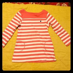 Striped l/s tee dress with pockets